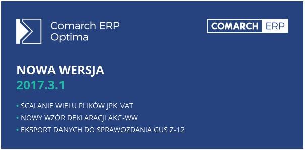 Baner nowa wersja Comarch ERP Optima