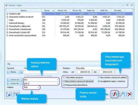 Zawartość okna Obroty i Salda w programie dla firm Comarch ERP Optima