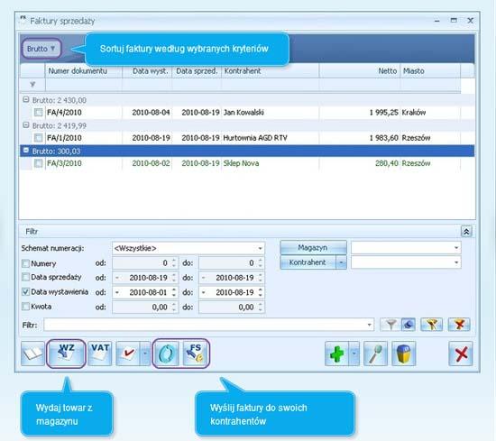 Okno programu Comarch ERP Optima pokazujące jak wypełnić fakturę sprzedaży w systemie