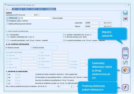 Jak wypełnić deklarację roczną PIT 36 w programie Comarch ERP Optima