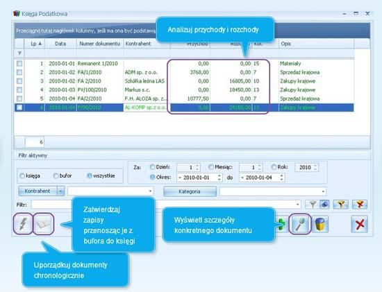 Opis okna Księga Podatkowa w programie dla firm Comarch ERP Optima