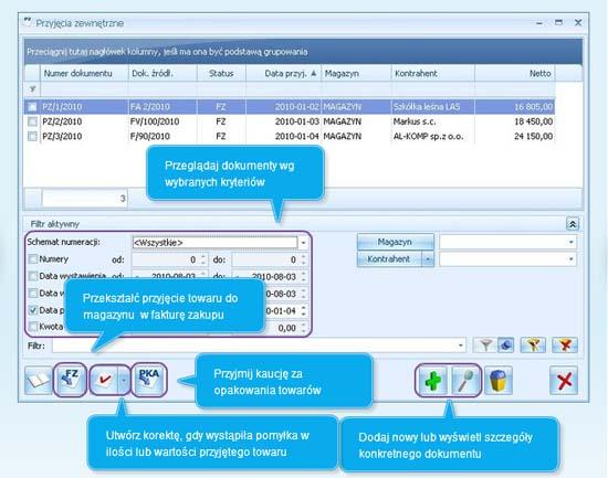 Jak dodać przyjęcie zewnętrzne w programie Comarch ERP Optima