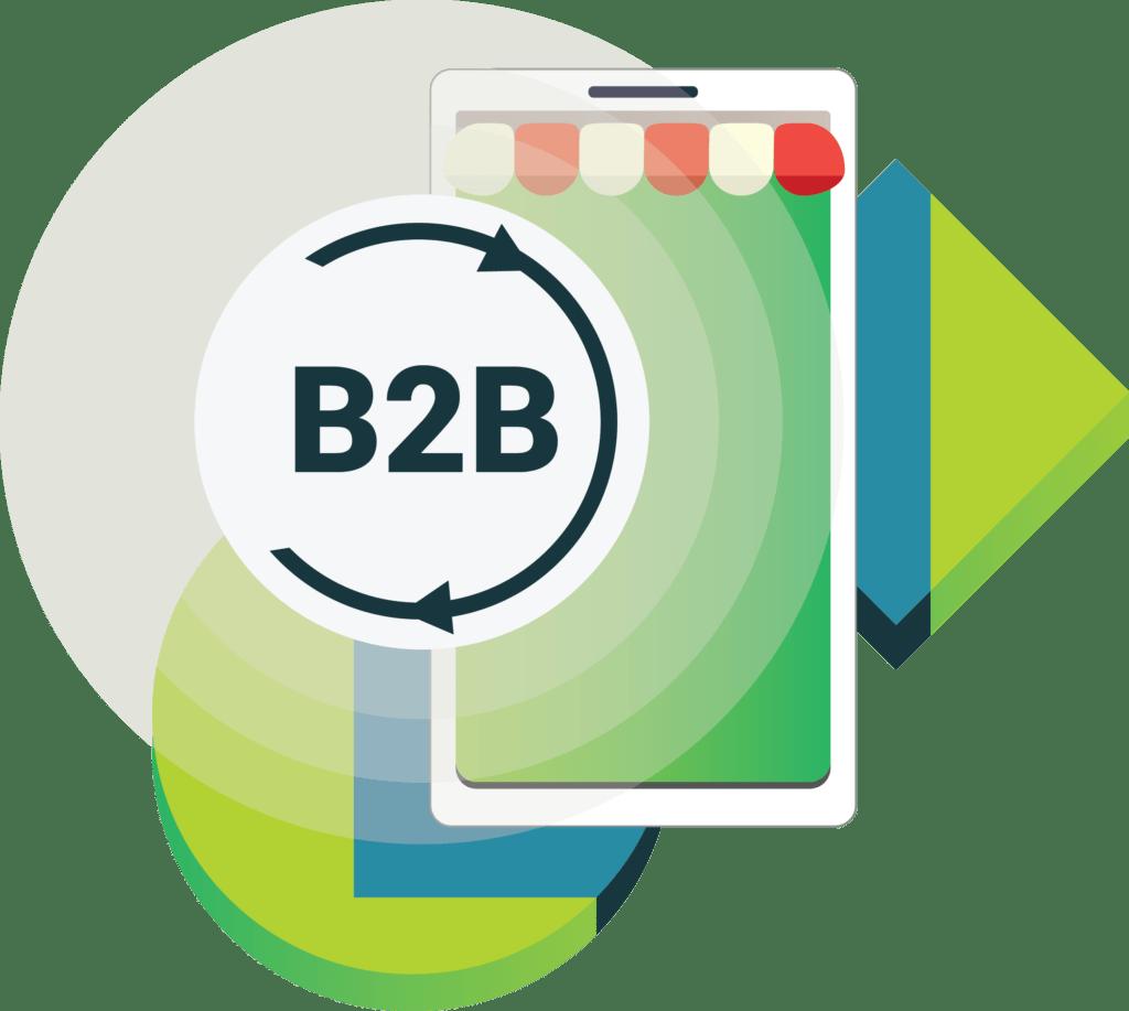 ilustracja wektorowa platforma B2B smartfon z markizą ikona B2B