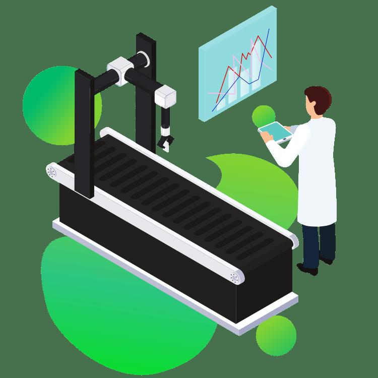 ilustracja wektorowa automatyczna linia produkcyjna oprogramowanie dla firm produkcyjnych i przetwórczych