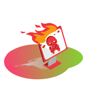 Ikona płonący komputer z czaszką na ekranie jak zabezpieczyć się przed cyberprzestępcami
