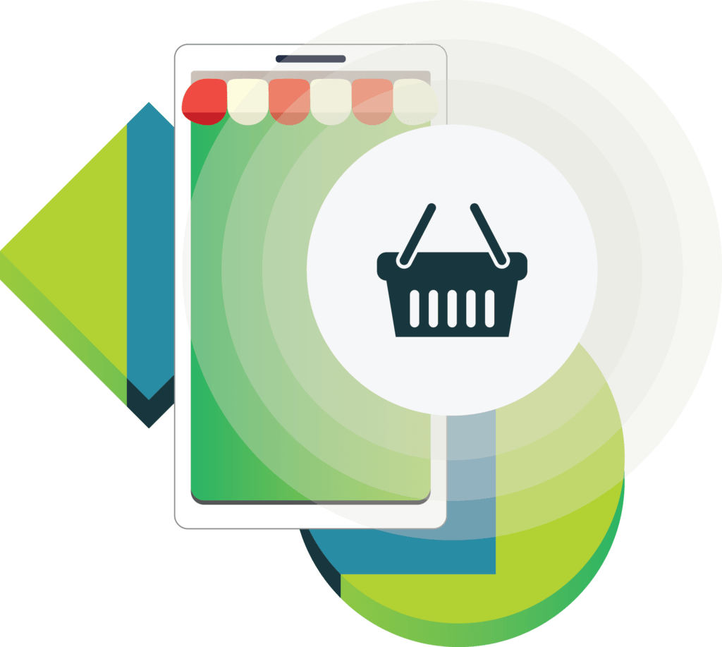 ilustracja wektorowa e commerce smartfon z markizą ikona koszyka