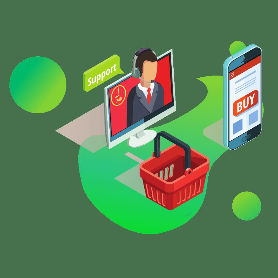 ilustracja wektorowa support w ekranie komputera telefon ze screenem sklepu internetowego koszyk na zakupy e commerce