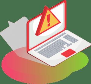 Laptop ze znakiem UWAGA na ekranie błędy w oprogramowaniu