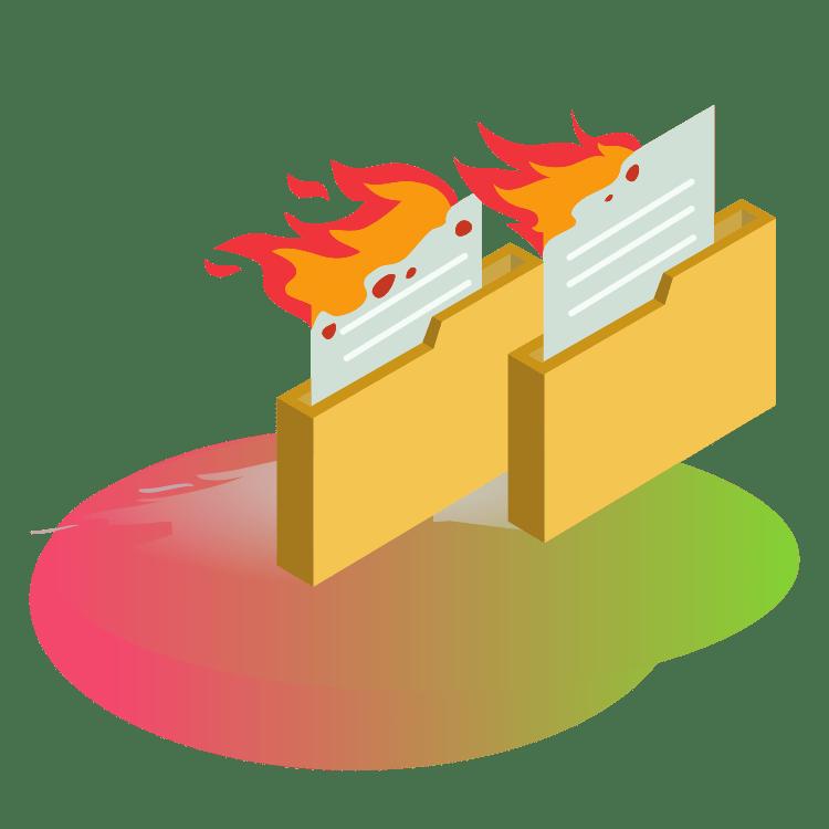 Płonące pliki foldery brak kopii zapasowych