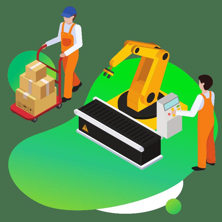 Robot przemysłowy linia produkcyjna i pracownicy rozwiązania dla firm produkcyjnych i przetwórczych