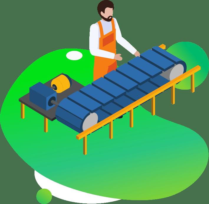 Ilustracja wektorowa pracownik przy linii produkcyjnej oprogramowanie dla firm z branży produkcyjnej i przetwórczej