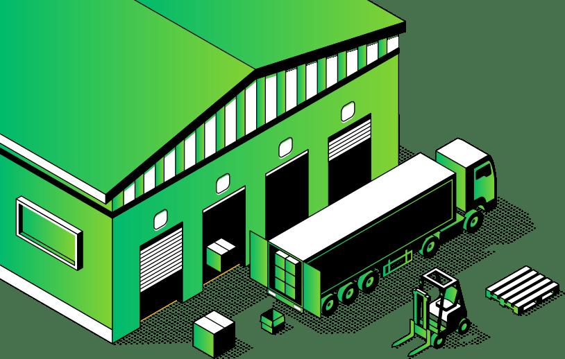 ilustracja wektorowa zielony magazyn z miejscami załadunkowymi dla ciężarówek obok stoi ciężarówka wózek widłowy i paleta oprogramowani magazynowe