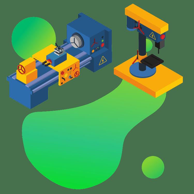 Ilustracja wektorowa wiertarka stołowa i frezarka oprogramowanie dla firm z branży produkcyjnej i przetwórczej
