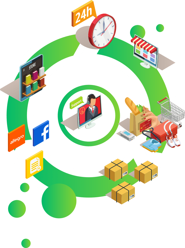 ilustracja wektorowa e commerce paczki zakupy online zegar integracja facebook i allegro