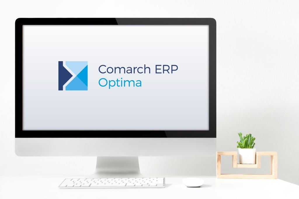 Ekran komputera z logo Comarch ERP Optima
