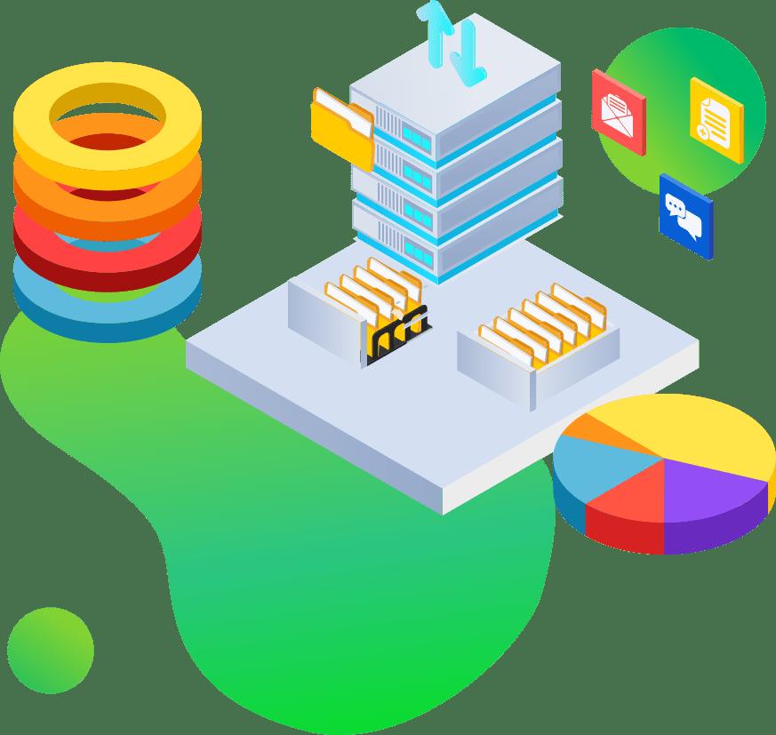 Serwer wykresy z danymi szuflady z folderami analityka dla e commerce