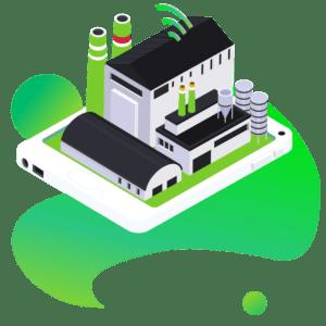 Ilustracja wektorowa fabryka oprogramowanie dla firm z branży produkcyjnej i przetwórczej