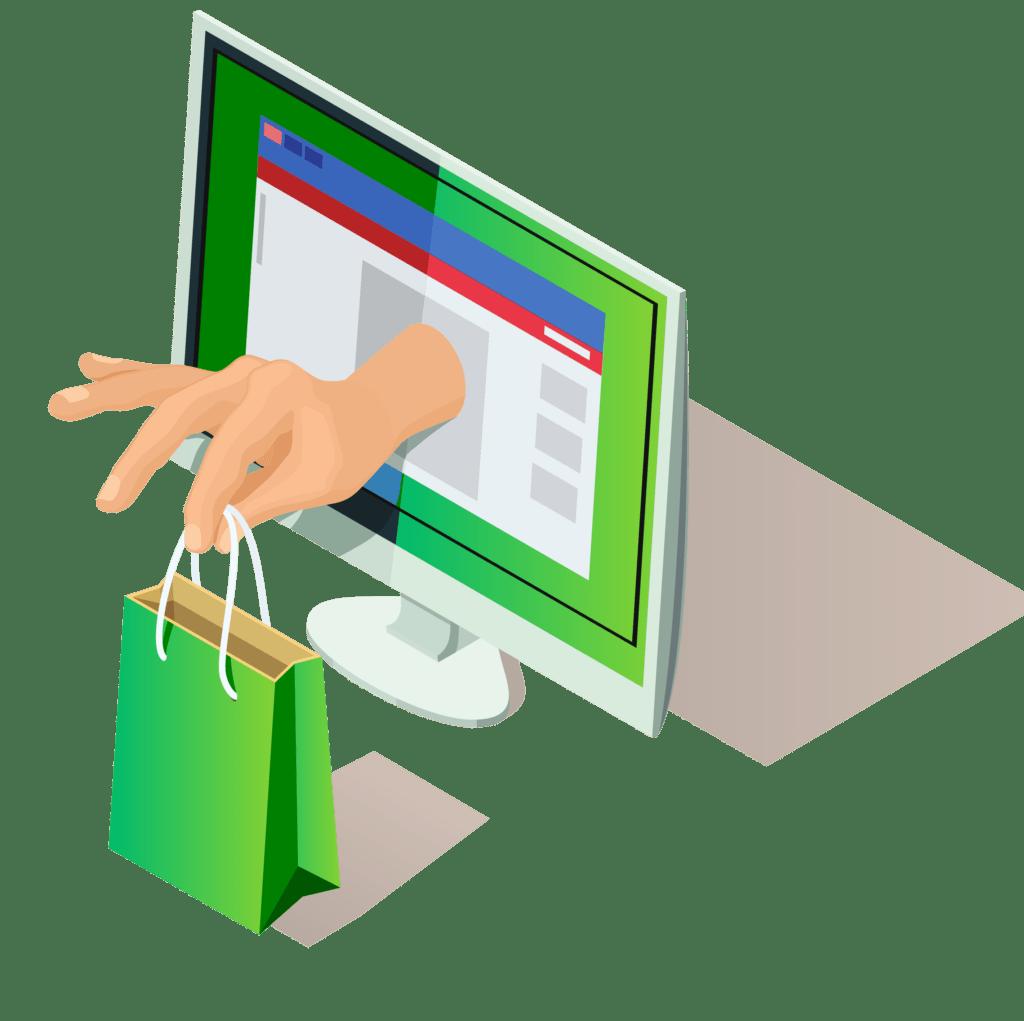 ręka z zakupami w papierowej torbie wystaje z ekranu komputerowego sklepu internetowego oprogramowanie handlowe