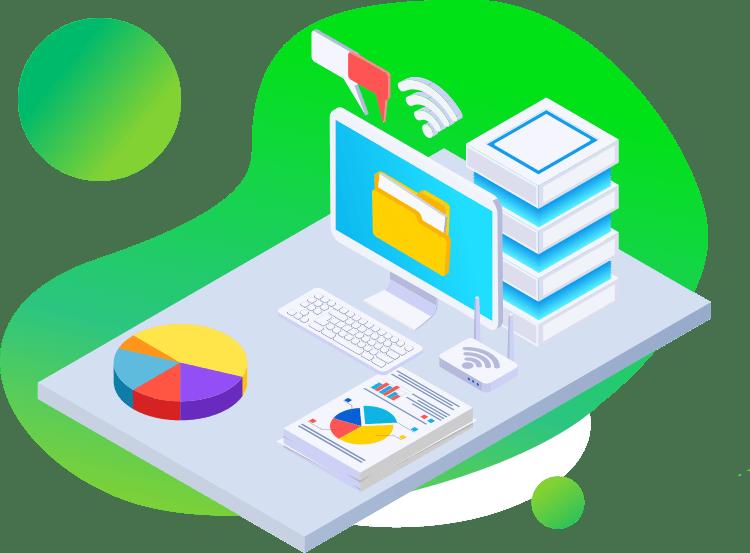 komputer baza danych serwer i wykresy z danymi obsługa informatyczna firm