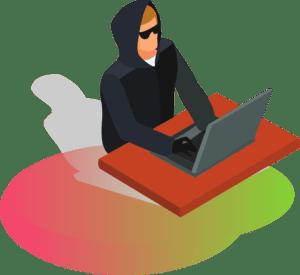 Mężczyzna w okularach przeciwsłonecznych i w kapturze wykrada dane firmowe jak zabezpieczyć się przed nielojalnymi pracownikami i wyciekiem danych