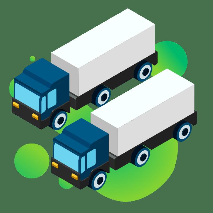 ilustracja wektorowa dwie ciężarówki obok siebie program magazynowy