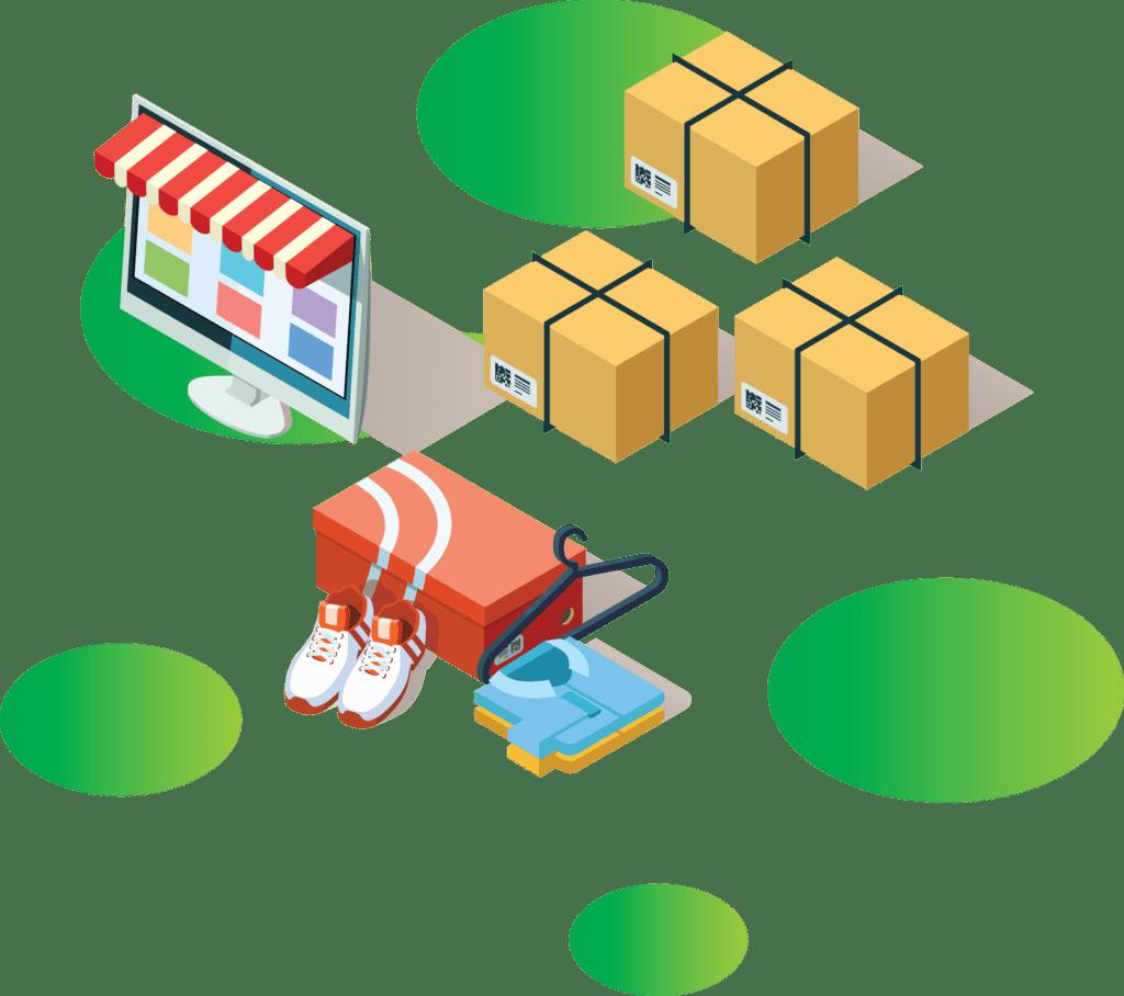 ilustracja wektorowa ekran komputera z markizą sklepową ubrania zakupione on line paczki do klientów sklepu e commerce