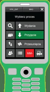 Kolektor danych ze screenem z programu dla magazynierów Comarch WMS