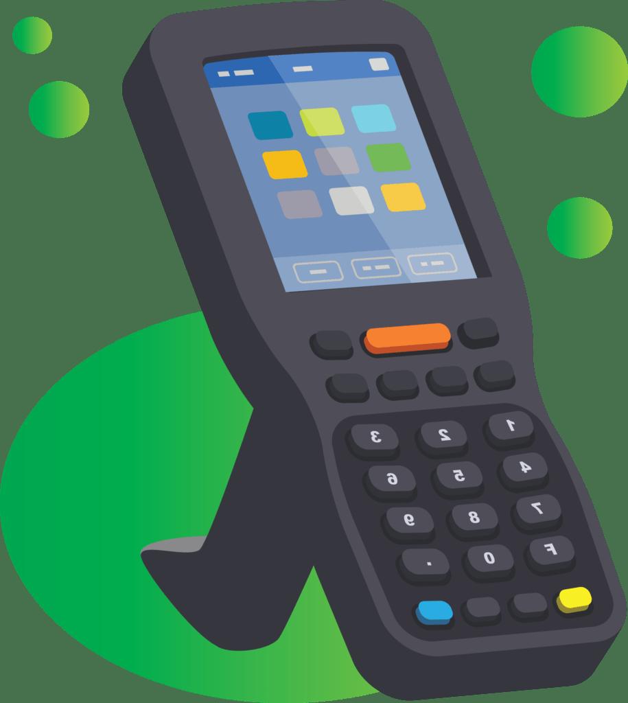 ilustracja wektorowa kolektor danych mobilnych czytnik kodów kreskowych