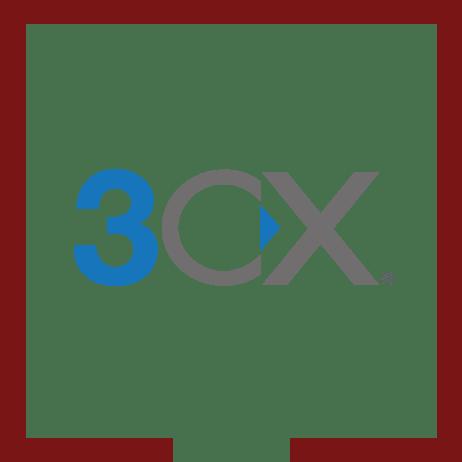 logo 3cx w bordowej ramce