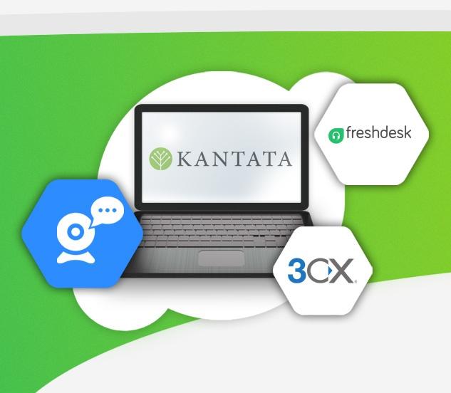 Baner zestaw aplikacji do pracy zdalnej laptop z logo Kantata obsługa informatyczna firm ikona kamery internetowej w sześciokącie logo 3cx w sześciokącie logo freshdesk w sześciokącie
