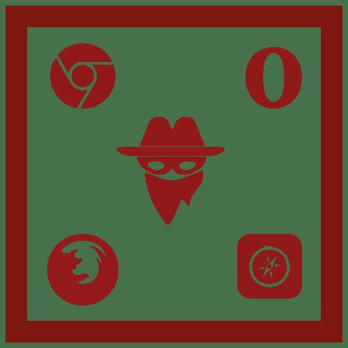ikona zamaskowanego bandyty logo chrome logo opera logo safari logo firefox browser hijacker