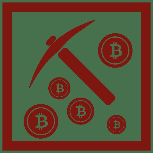 Kilof otoczony znakiem waluty Bitcoin cryptominer